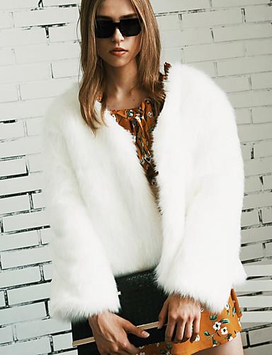 Damen Solide Einfach Freizeit Ausgehen Übergrössen Standard Pelzmantel, V-Ausschnitt Winter Herbst Kunst-Pelz