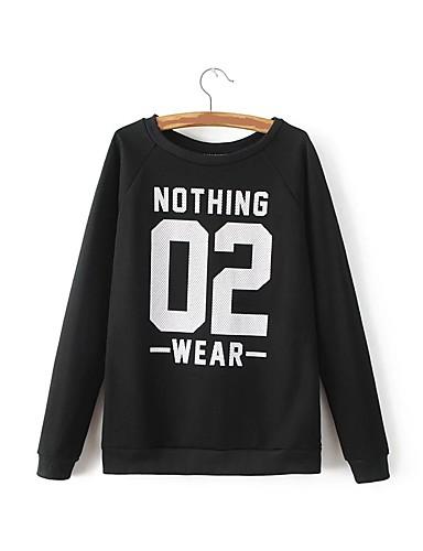Damen Pullover Ausgehen Lässig/Alltäglich Einfach Niedlich Aktiv Solide Buchstabe Rundhalsausschnitt Mikro-elastisch Baumwolle
