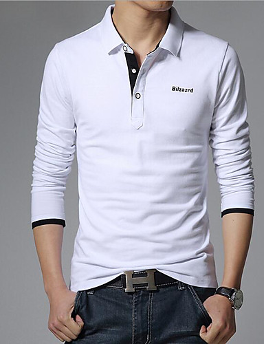 Men's Business / Casual / Active Cotton Polo - Solid Colored Shirt Collar / Long Sleeve