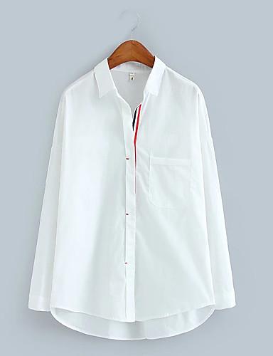 Damen Solide Einfach Sexy Street Schick Ausgehen Lässig/Alltäglich T-shirt,Hemdkragen Sommer Langarm Baumwolle Polyester Dünn Mittel