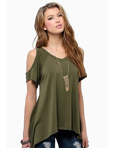 Damen Solide Aktiv Sexy Ausgehen T-shirt,V-Ausschnitt Sommer Kurzarm Baumwolle