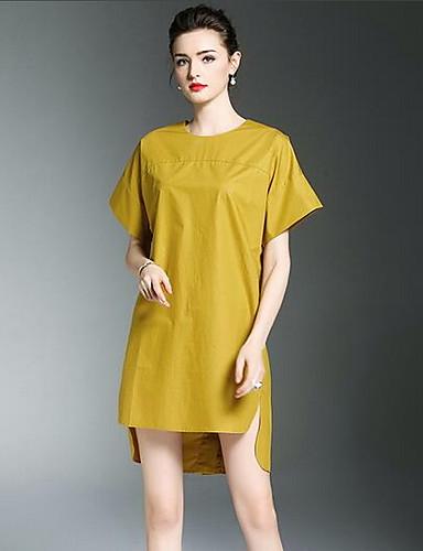 Damen Hülle Kleid-Lässig/Alltäglich Solide Rundhalsausschnitt Knielang Asymmetrisch Kurzarm Baumwolle Herbst Mittlere Hüfthöhe