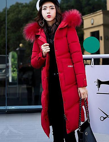 Damen Gefüttert Mantel,Lang Einfach Lässig/Alltäglich Solide Buchstabe-Polyester Polypropylen Langarm