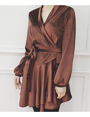 Damen A-Linie Kleid-Lässig/Alltäglich Einfach Solide V-Ausschnitt Knielang Langarm Baumwolle Frühling Mittlere Hüfthöhe Unelastisch