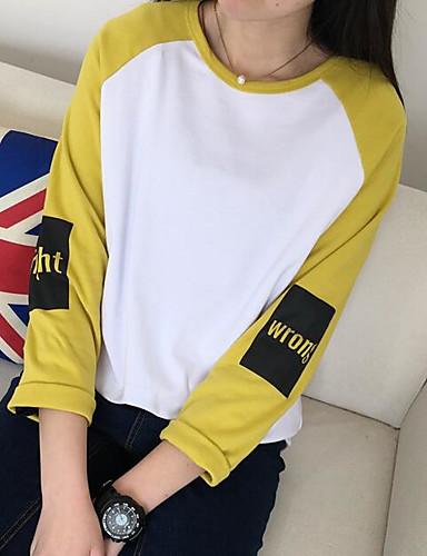 Damen Pullover Lässig/Alltäglich Einfach Einfarbig Buchstabe Rundhalsausschnitt Mikro-elastisch Baumwolle Polyester Lange Ärmel Frühling