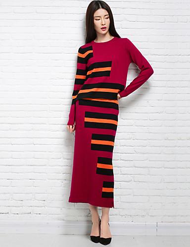 Damen Lang Pullover-Lässig/Alltäglich Gestreift Rundhalsausschnitt Langarm Wolle Winter Mittel Mikro-elastisch