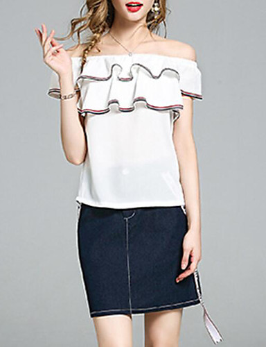 Damen Solide Einfach Lässig/Alltäglich T-Shirt-Ärmel Rock Anzüge,Bateau Sommer Kurzarm