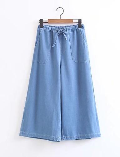 Damen Street Schick Mittlere Hüfthöhe Mikro-elastisch Breites Bein Jeans Hose,Seide Baumwolle Acryl Frühling Sommer Herbst Solide