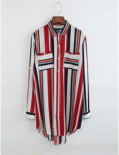 Damen Solide Baumwolle Hemd, Hemdkragen Druck
