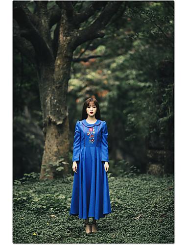 Damen Lose Kleid-Ausgehen Solide Stickerei Rundhalsausschnitt Maxi Langarm Polyester Herbst Mittlere Hüfthöhe Mikro-elastisch Mittel