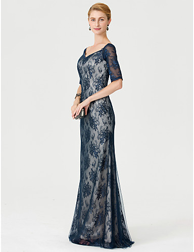 Sheath / Column V Neck Floor Length Lace Mother of the Bride Dress with Appliques by LAN TING BRIDE®