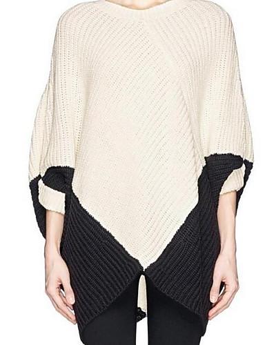 Damen Lang Pullover-Lässig/Alltäglich Einfach Solide V-Ausschnitt Halbe Ärmel Baumwolle Herbst Winter Mittel Mikro-elastisch