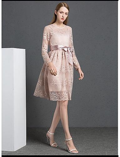 Damen Hülle Kleid-Ausgehen Niedlich Stickerei Rundhalsausschnitt Knielang Langarm Polyester Sommer Mittlere Hüfthöhe Mikro-elastisch