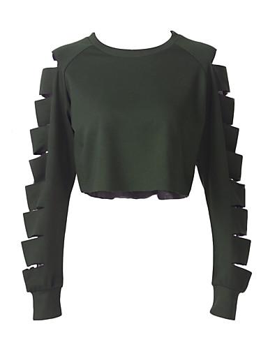 Damen Pullover Lässig/Alltäglich Sexy Solide Ausgeschnitten Rundhalsausschnitt Unelastisch Polyester Lange Ärmel Herbst