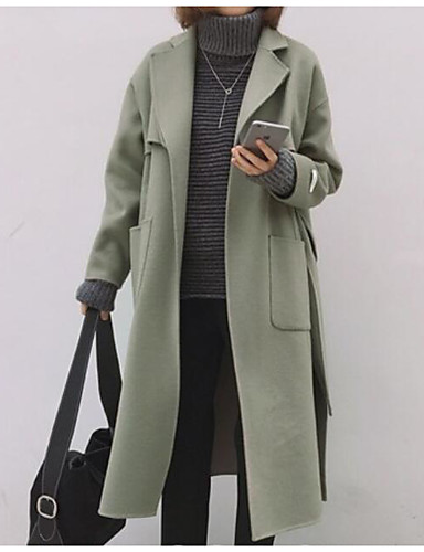 Damen - Solide Einfach Mantel, V-Ausschnitt Baumwolle / Frühling / Herbst
