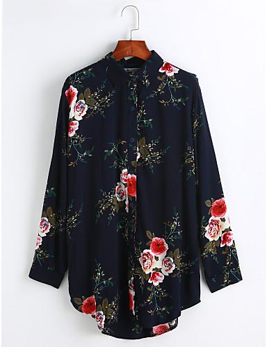 Damen Solide Hemd, Hemdkragen Druck Baumwolle
