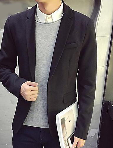 Herren Solide Einfach Lässig/Alltäglich Arbeit Blazer,Steigendes Revers Herbst Lange Ärmel Standard Polyester