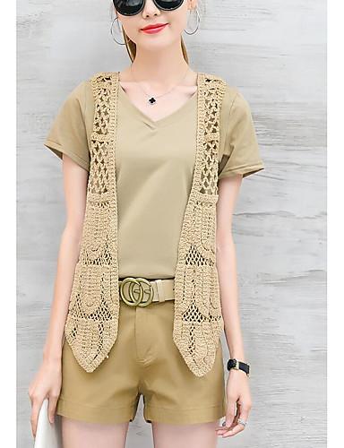 Damen Freizeit Baumwolle Bluse - Solide V-Ausschnitt Hose / Sommer