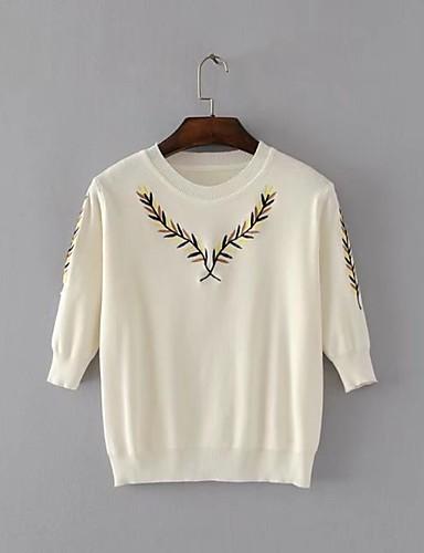 Damen Standard Pullover-Ausgehen Lässig/Alltäglich Einfach Solide Druck Rundhalsausschnitt 3/4 Ärmel Wolle Baumwolle Frühling Herbst Dünn