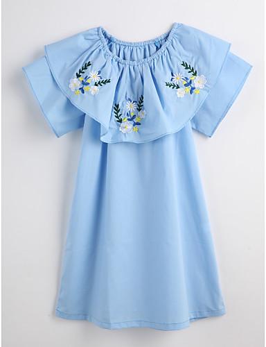 Mädchen Kleid Blumen Baumwolle Sommer Kurzarm Blumig Blau
