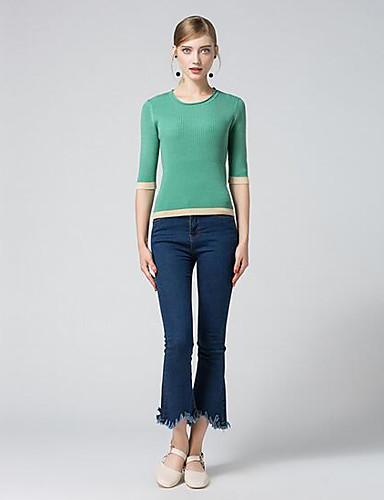 Damen Standard Strickjacke-Lässig/Alltäglich Solide Rundhalsausschnitt Halbe Ärmel Andere Herbst Mittel Mikro-elastisch