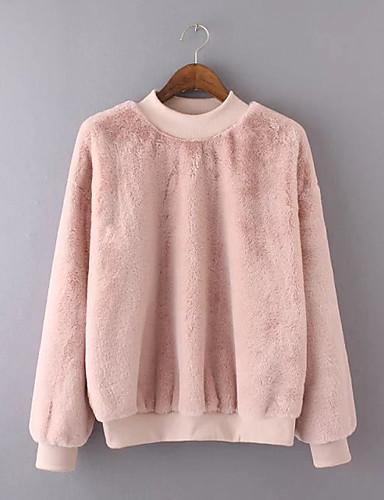 Damen Pullover Ausgehen Lässig/Alltäglich Einfach Niedlich Aktiv Solide Rundhalsausschnitt Mikro-elastisch Kaninchen-Pelz Langärmelige