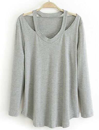 Damen Solide Street Schick Ausgehen Lässig/Alltäglich T-shirt,V-Ausschnitt Herbst Langarm Baumwolle Mittel