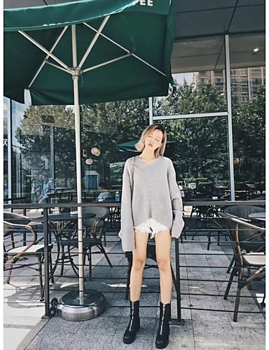 Damen Standard Pullover-Ausgehen Lässig/Alltäglich Einfach Solide V-Ausschnitt Langarm Wolle Baumwolle Polyester Frühling Herbst Dünn