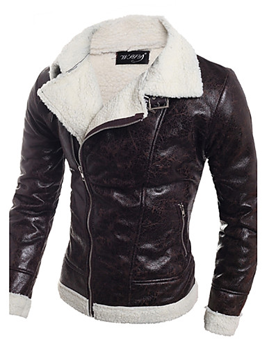 cheap Leather Jackets-Men's Daily / Weekend Fall / Winter Regular Leather Jacket, Solid Colored Black & White V Neck Long Sleeve PU Black / Light Brown L / XL / XXL / Slim