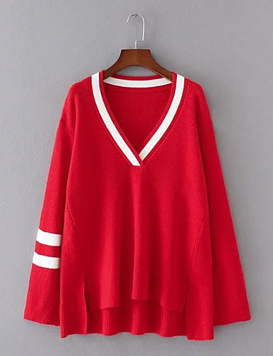 Damen Standard Pullover-Ausgehen Lässig/Alltäglich Einfach Solide Einfarbig Regenbogen V-Ausschnitt Langarm Wolle Baumwolle Polyester