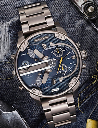 Men's Casual Watch Sport Watch Fashion Watch Quartz Calendar / date / day Dual Time Zones Cool Stainless Steel Band Analog Luxury Vintage Casual Black / Silver - Black / Gold Blue Black / Silver Two