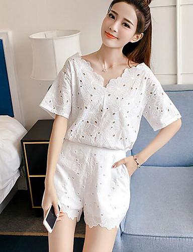 Damen Solide Einfach Lässig/Alltäglich T-Shirt-Ärmel Hose Anzüge,V-Ausschnitt Sommer Kurzarm Unelastisch
