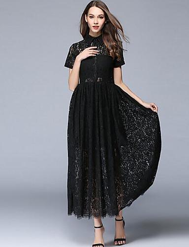 Damen Spitze Swing Kleid-Ausgehen Anspruchsvoll Solide Rundhalsausschnitt Maxi Kurzarm Acryl Sommer Mittlere Hüfthöhe Unelastisch Dünn