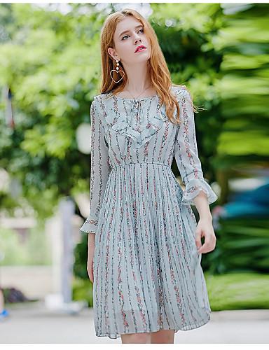Damen Swing Kleid-Ausgehen Niedlich Druck Rundhalsausschnitt Knielang Langarm Polyester Herbst Mittlere Hüfthöhe Mikro-elastisch Mittel