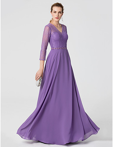 A-Line V Neck Floor Length Chiffon / Lace Cocktail Party / Formal Evening Dress with Beading / Sash / Ribbon by TS Couture® / Illusion Sleeve