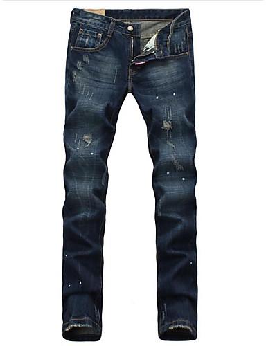 Herren Einfach Mittlere Hüfthöhe Unelastisch Jeans Gerade Hose Solide