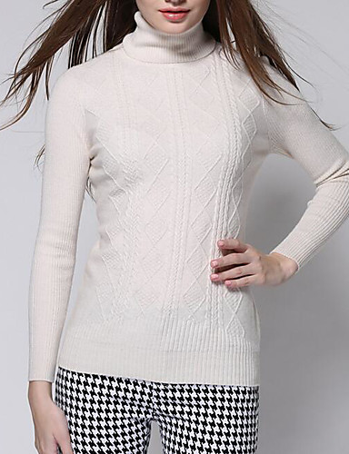 Damen Standard Kaschmir-Lässig/Alltäglich Einfach Solide Rollkragen Langarm Andere Herbst Winter Mittel Mikro-elastisch