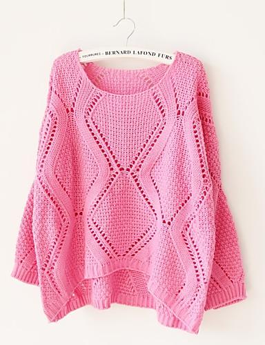 Damen Standard Pullover-Ausgehen Lässig/Alltäglich Einfach Solide Rundhalsausschnitt Langarm Baumwolle Herbst Mittel Mikro-elastisch