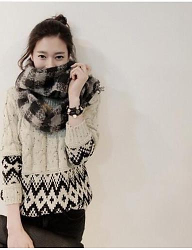 Damen Standard Pullover-Ausgehen Lässig/Alltäglich Einfach Druck Rundhalsausschnitt Langarm Polyester Herbst Winter Dick Mikro-elastisch