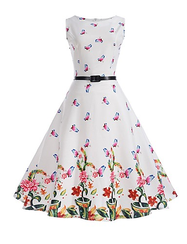 Women's Daily / Holiday / Work Vintage Sheath / Swing Dress - Floral Summer Cotton White L XL XXL