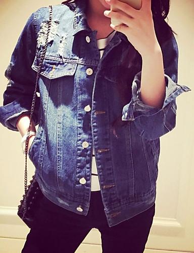 Damen Solide Einfach Ausgehen Jeansjacke,Hemdkragen Frühling Lange Ärmel Kurz Polyester