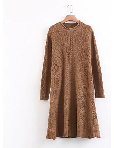 Damen Lang Pullover-Ausgehen Lässig/Alltäglich Einfach Solide Ständer Langarm Baumwolle Frühling Herbst Dünn Mittel Mikro-elastisch