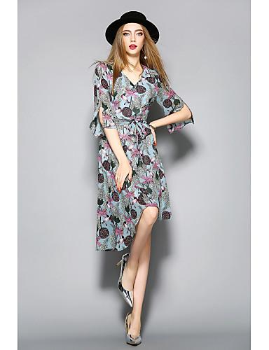 Damen Hülle Kleid-Lässig/Alltäglich Blumen Druck V-Ausschnitt Knielang Halbe Ärmel Polyester Sommer Mittlere Hüfthöhe Mikro-elastisch