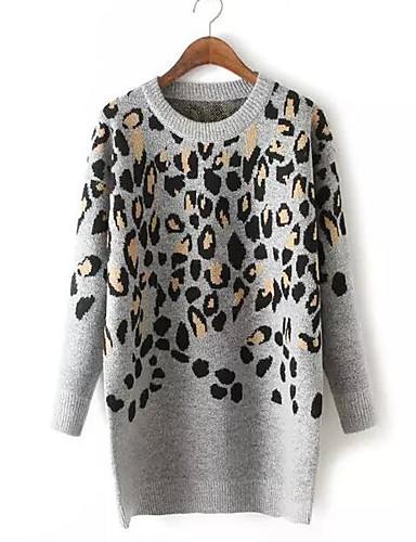 Damen Strickware Kleid-Lässig/Alltäglich Einfach Leopard Rundhalsausschnitt Knielang Langarm Baumwolle Herbst Mittlere Hüfthöhe