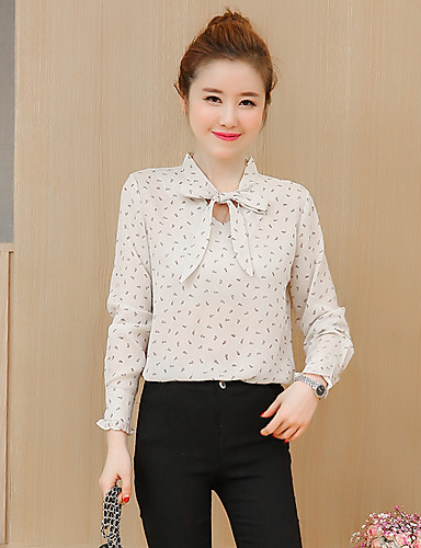 Damen Solide Blumen Einfach Lässig/Alltäglich Bluse,V-Ausschnitt Langarm Baumwolle