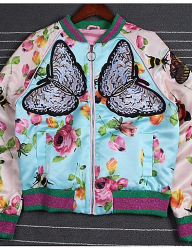 Damen Druck Einfarbig Chinoiserie Lässig/Alltäglich Jacke,V-Ausschnitt Herbst Langärmelige Kurz Polyester