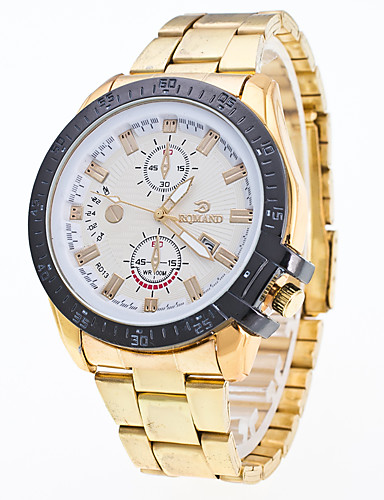 Men's Wrist Watch Chinese Calendar / date / day / Cool Metal / Stainless Steel Band Fashion / Dress Watch Silver / Gold / Rose Gold / Jinli 377