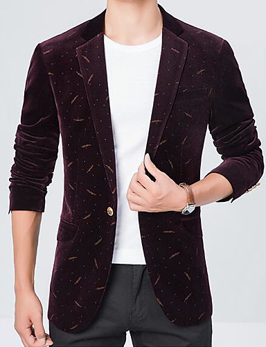Herren Druck Einfach Lässig/Alltäglich Arbeit Blazer,Steigendes Revers Herbst Lange Ärmel Standard Polyester