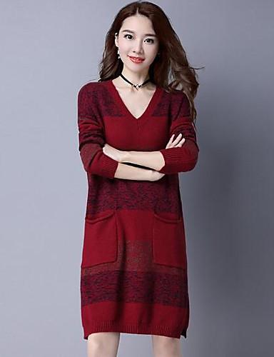 Damen Lang Pullover-Lässig/Alltäglich Solide Gestreift Einfarbig V-Ausschnitt Langarm Wolle Andere Herbst Winter Mittel Mikro-elastisch