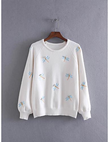 Damen Standard Pullover-Ausgehen Lässig/Alltäglich Einfach Solide Druck Rundhalsausschnitt Langarm Baumwolle Andere Winter Herbst Dünn